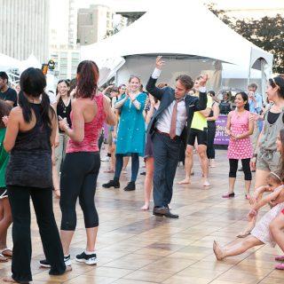 People enjoying Bollywood Dance at Midsummer Night Swing; Lincoln Center; Damrosch Park; DCSBhangra