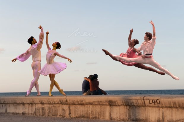 Collage of Cuban ballet dancers on the Malecon in Havana