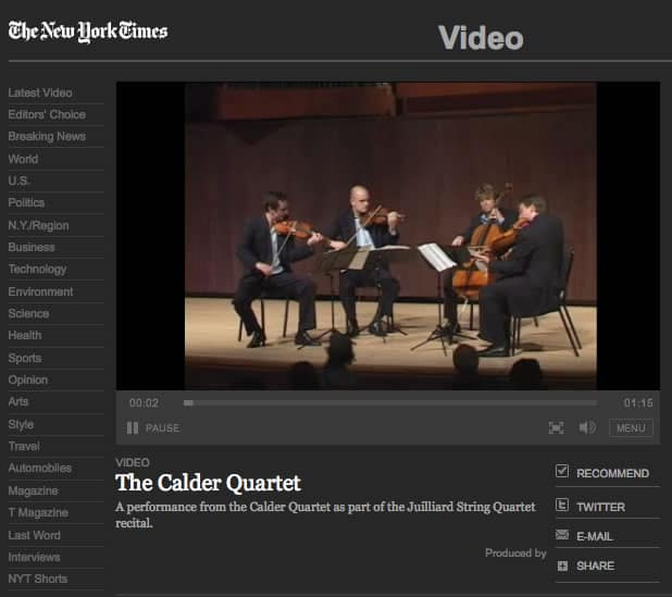 Video: Nan Melville for NY Times: Calder Quartet, 2007