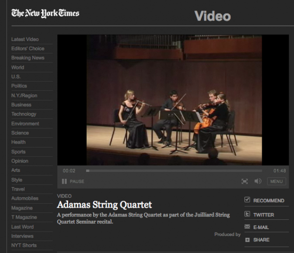 Video: Nan Melville for NY Times: Adamas String Quartet, 2007