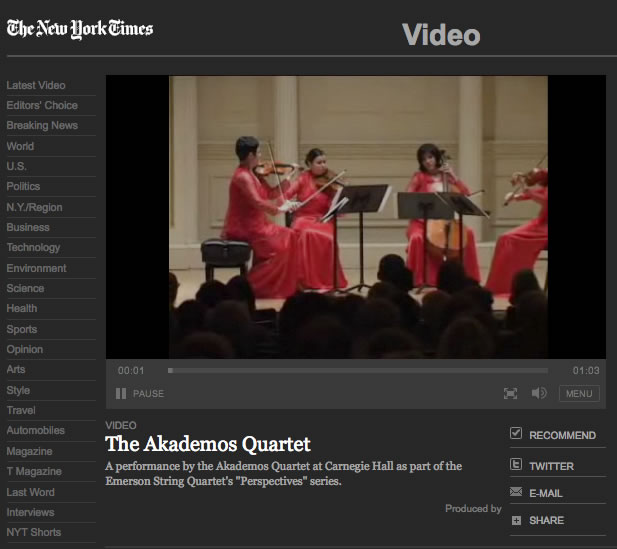 Video: Nan Melville for NY Times: The Akademos Quartet, 2007